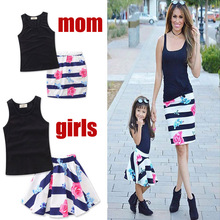 girls of Mom vest Dress set Lovely polka daughter dresses cotton summer mother and daughter clothes kids parent child outfits(China)