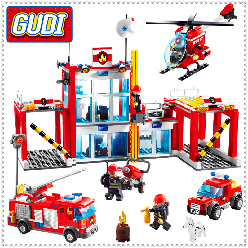 874Pcs City Fire Station Helicopter Firemen Model Building Block Toys GUDI 9217 Educational Gift For Children Compatible Legoe<br>