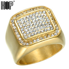HIP Hop Micro Pave Rhinestone Iced Out Bling Square Ring IP Gold Filled Titanium Stainless Steel Rings for Men Jewelry