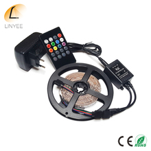 RGB LED Strip SMD 3528 RGB 5M Diode Tape with 20 keys Music IR Remote Controller 12V 2A Power Adapter Flexible decoration Light