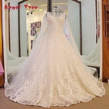 Angel Tree Luxury Ball Gown Wedding Dresse Princess Lace Corset Back Appliqued Lace Hochzeitskleid Online Shop China Real Photos(China)