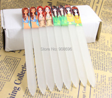 Wholesale 20Pcs Czech Republic Crystal Glass Nail File Lady picture print clear nail case with Sleeve 5.5''-Free shipping(China)