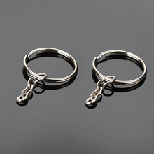 100Pcs 25mm Tone Silver Plated Key Chains & Key Rings With 4Link Chain 48mm Long,Key Chain and Key Ring Accessory