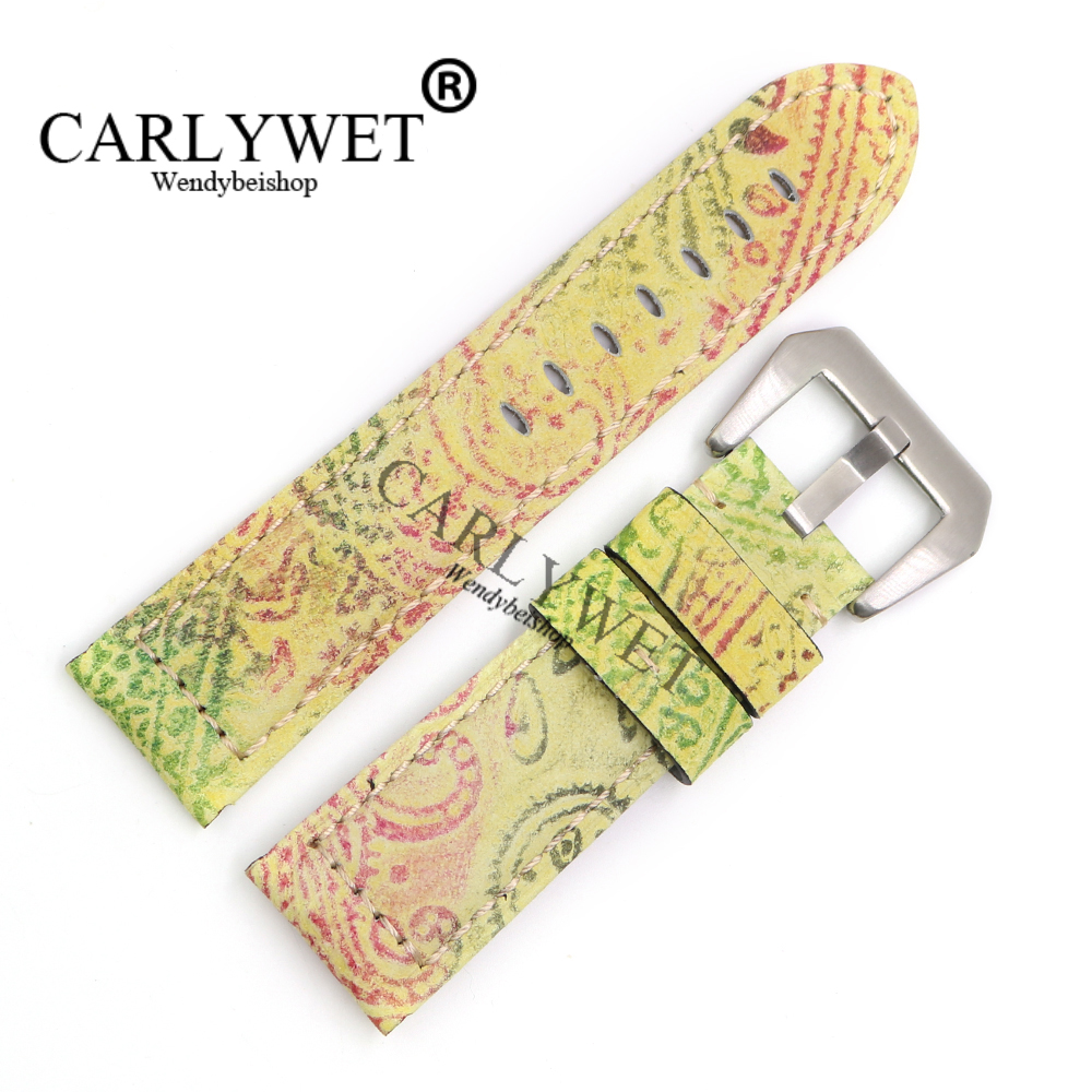 CARLYWET 22 24 26mm Wholesale Yellow Pattern Real Leather Wrist Watch Band Strap Bracelet With Silver Brushed Pre V Screw Buckle<br>