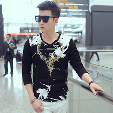 Brand new subcoating Korean male fashion slim long sleeved T-shirt printing M-3XL-5XL