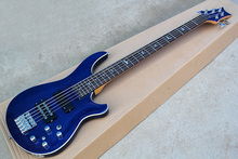 Hot sale Factory Custom 5 strings blue body Electric Bass Guitar with active circuit,chrome hardware,can be customized