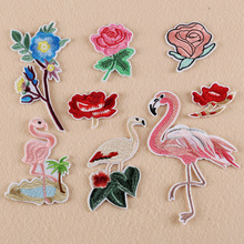 2017 New Fashion Embroidery Patches Flamingo Applique Rose Flower Patches for Clothing DIY Shoes,Hat,Bag,Dress Accessories