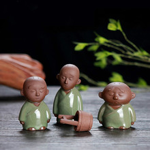 T Creative Three Little Monk Kungfu Tea Figurines Geyao Open Tea Pets Boutique Purple Car Tea Living Room Ornaments Gifts