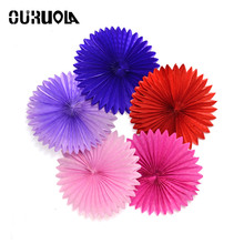 OURUOLA Wedding Decoration Origami Paper Fans Crafts Birthday Party Supplies Diy Favors Mix Size 8 10 12 Inch 12pcs