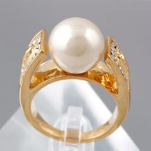 European and American vintage retro gold fashion jewelry wholesale crystal pearl ring simple female ring,rings for women