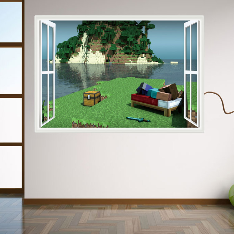 HTB1X9bRnyAKL1JjSZFoq6ygCFXap - Newest Minecraft Wall Stickers 3D Wallpapers Kids Room Decals Minecraft Steve Home Decoration Popular Games Home Free Shipping