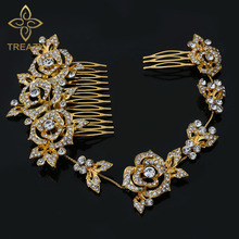 TREAZY Gold Color Crystal Bridal Wedding Hair Accessories Rose Flower Bridal Long Hair Combs Wedding Hair Jewelry for Women