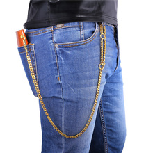 Collare Punk Rock Cowboy Heavy Pants Wallet Chain Gold/Black Color Stainless steel Purse Chain Waist Accessories BC105