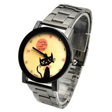 Cute Ribbon Black Cat Watch Women Black Metal Watch lovers Wristwatch Stainless retro style new fashion watch Kitty Dropshipping
