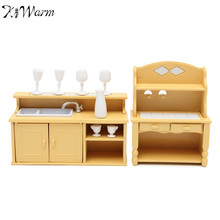 KiWarm Miniatures Kitchen Cabinets Set Dolls House Furniture Ornaments Kids Toy Dolls Gift for Home Children Room Decoration(China)
