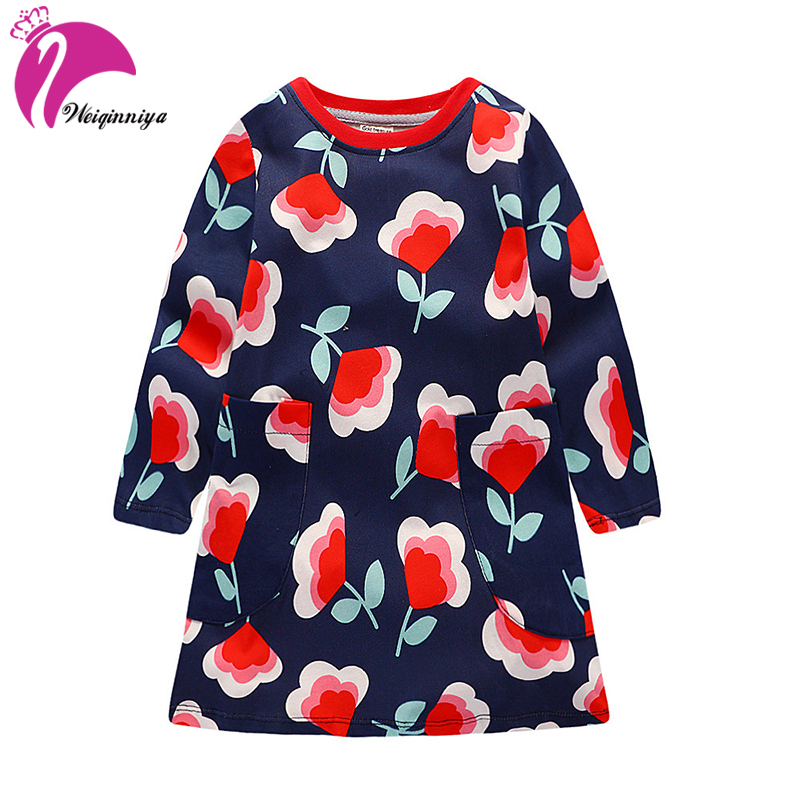 Dress For Girl Cute Girls Dresses Spring Girls Beach Floral Dresses Kids Long Sleeve Princess Costumes For 2-7y Kids Clothes Hot<br>