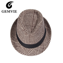Vintage Plaid Fedoras Hats For Women And Men Casual Soft Woolen Jazz Caps Winter Hat 3 Colors(China)