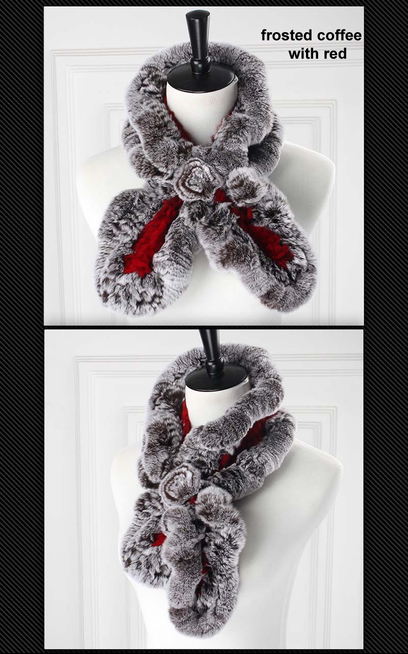 rex wavy scarf frosted coffee with red