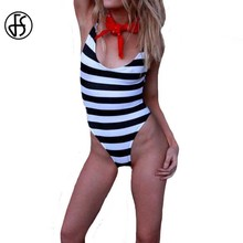 FS Striped Tanks One Piece Swimsuits Women Backless Swimwear Summer Brazilian Bathing Suit Bodysuit Black And White(China)