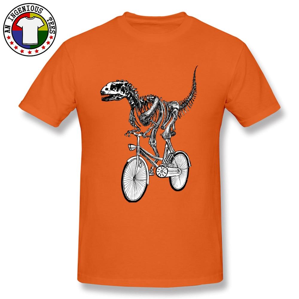 Short Sleeve Tops Shirts O Neck Cotton Men's Top T-shirts Skeleton-Fossil-Bike Normal Tops Shirts 2018 Popular Skeleton-Fossil-Bike orange