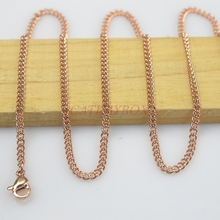 2.0MM 18K Rose Gold Plated Stainless Steel Cuban Curb Link Chain necklace Women