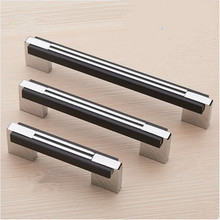 64mm 96mm 128mm 160mm 192mm modern simple fashion silver black wardrobe kitchen cabinet door handles chrome drawer tv table pull