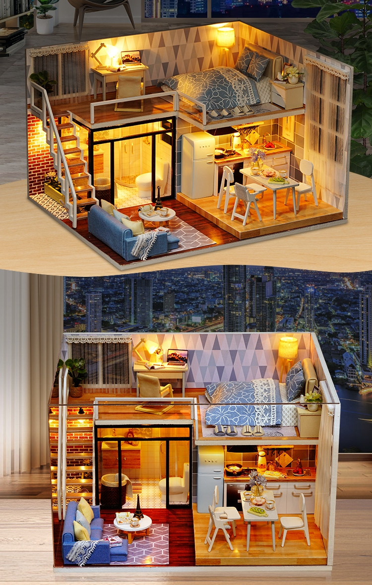 New Arriving DIY Miniature Model Dollhouse Blue Time With Furnitures LED 3D Wooden House Toys Handmade Best Gifts For Children (8)
