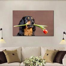 canvas prints large wall pictures home decor modern art pictures dog with flower gift