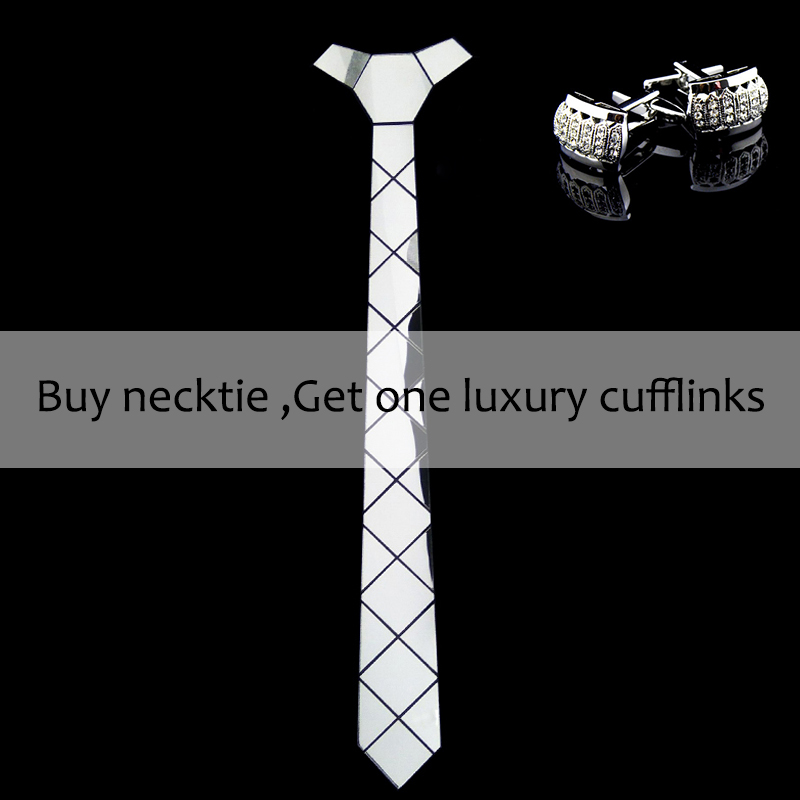 Bling Silver Mirror Acrylic Fashion Luxury Neckties Glossy Silk Skinny Ties Men Women Necktlace Wedding Party Christmas Gift