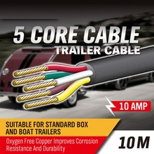 10M 5 Core Trailer Cable 2.5mm Train Wire Caravan Plug Socket Wiring NARVA 5852