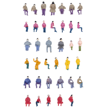 50pcs Painted Model Train Seated People Passengers Figures 1:87 HO Scale Model Building Kit Perfect for Layout Diorama Accessory