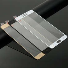 Clear/Black/White/Gold Full Cover Silk Print Tempered Glass Screen For Samsung Galaxy C9 Pro Glass Film Protector