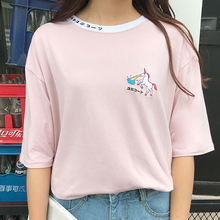 Harajuku T-shirt 2017 Korean Institute Wind Cute Cartoon Embroidery Short Sleeve T Shirt Women All-match Casual Loose Tees Tops(China)