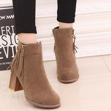 Autumn Winter Women Tassels Ankle Boots European Ladies shoes Hight heels Martin boots Suede Leather ankle boots