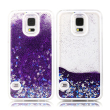 S4 S5 S6 S6 edge Fun Transparent Clear Cover For Samsung Galaxy S4 / S5 / S6 edge Glitter Star Flowing Water Liquid Plastic Case