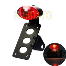 Motorcycle Custom License Plate Brackert Side Axle Shock Mounting Tail Brake Light for XS650 CB50 XL Universal(China)