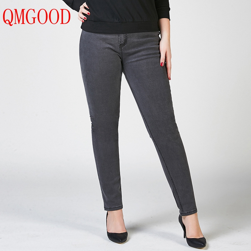 QMGOOD 26-40 Women Large Size Jeans Fat MM Casual Trousers Dark Gray Denim Pants Plus Size Elasticity Autumn Jeans for WomenÎäåæäà è àêñåññóàðû<br><br>