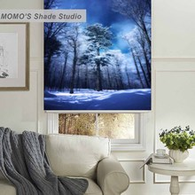 MOMO Blackout Tree Window Curtains Roller Shades Blinds Thermal Insulated Fabric Custom Painting ,PRB set511-515