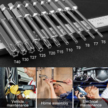 11pcs 75mm Length Magnetic Torx Screwdriver Bits Set Electric Screw Driver T6-T40 S2 Steel Screwdrivers Kit Hand Tools(China)