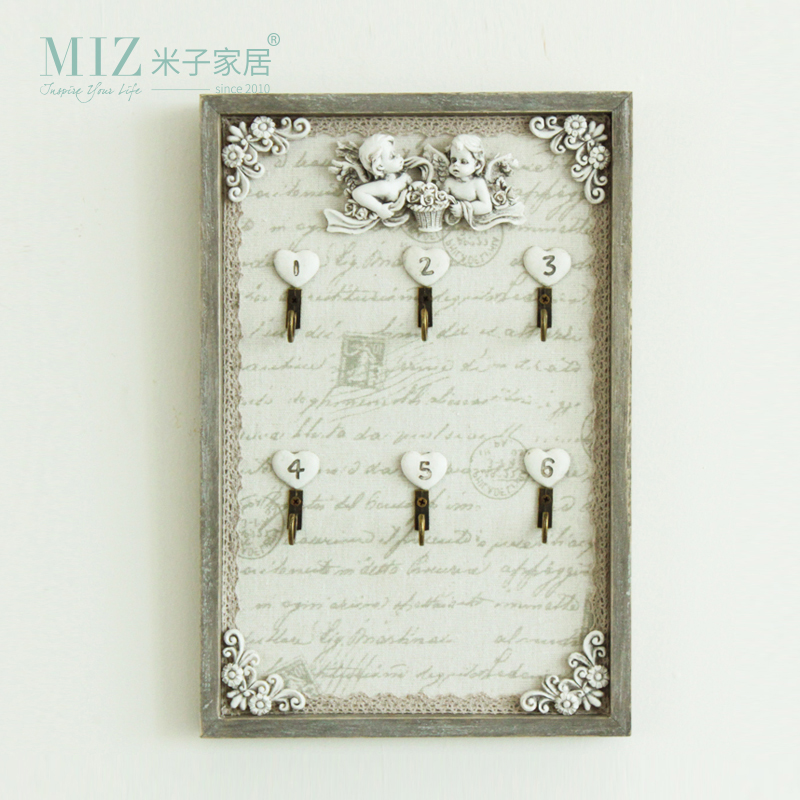 Miz Home 20*30 cm Vintage Home Decor Wooden Resin Decorative Key Storage Box Home Decor Wall Key Holder Hooks(China)