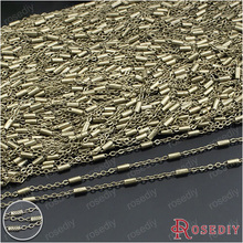 (24025)5 meters 2MM Antique Bronze Copper Flat O Shape with Cylinder Tube Link Chains Necklace Chains Diy Jewelry Accessories(China)