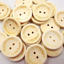 "Cheap Free Shipping 100 Pcs/lot 15mm 2 Holes""handmade"" Love Heart  Wood Sewing Buttons Scrapbooking  DIY Craft Sewing Accessory"