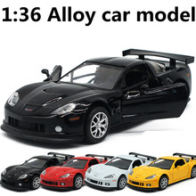 1:36 alloy pull back car models,metal diecasts,Chevrolet Corvette toy vehicles,musical & flashing, free shipping
