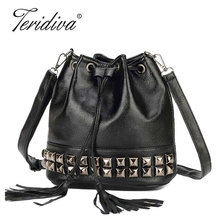 Teridiva High Quality Handbags Small Tassel Handbag Crossbody Bucket Bags for Women Shoulder Bag Rivet Messenger Bag Bolsa
