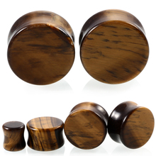 Pair Ear Expanders Stone Ear Plugs Tunnels Tiger's Eye Natural Organic Stone Earring Gauges 6mm 8mm 10mm 12mm14mm16mm18mm20mm(China)