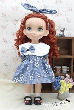 "[DY107]2017 New 16"" Disyne Doll Outfits # Blue Flower Dress and Hair Bow Set for 16 inch Disyne girl doll clothes for retail"