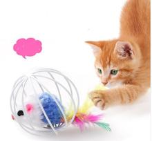 1pcs Fun Toys False Mouse in Rat Cage Ball For Pet Cat Kitten Play Toy Mouse Best Gift Colors Random Dogs tools