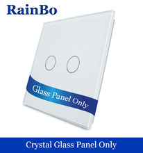 rainbo Free shipping Luxury Crystal White Glass Touch  Switch Panel 80mm*80mm EU Standard Glass  DIY 2gang Accessories A192W/B1