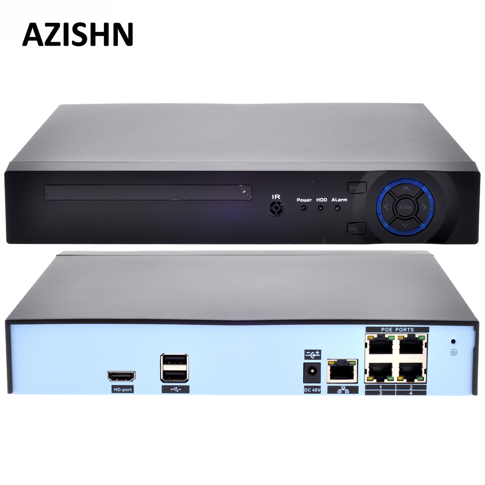 AZISHN 48V POE 4CH 5MP/4MP H.265 H.264 POE NVR DVR CCTV System ONVIF Real Time Network Hi3798M IP Camera XMEYE P2P 3G WIFI