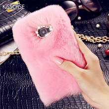 KISSCASE Luxury Rabbit Fur Hair Phone Cases For Samsung Galaxy A3 A5 A7 J2 J3 J5 J7 2016 Fashion Bling Diamond Back Cover Cases(China)